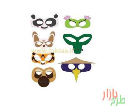 الگوی برش ماسک شخصیت های کارتون پاندای کونگ فو کار