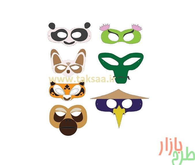 الگوی برش ماسک شخصیت های کارتون پاندای کونگ فو کار 1