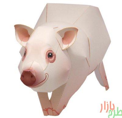 الگوی برش مجسمه کاغذی خوک مینیاتوری