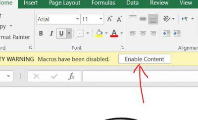 فعال کردن ماکروهای فایل اکسل